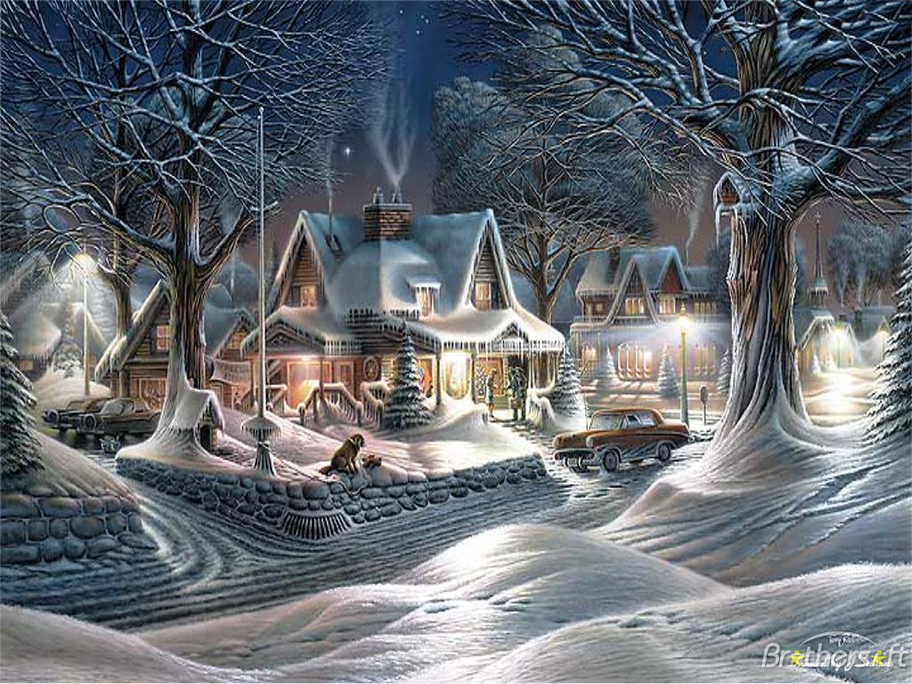 Beautiful And Colorful Christmas Winter Scene Clipart Free Image