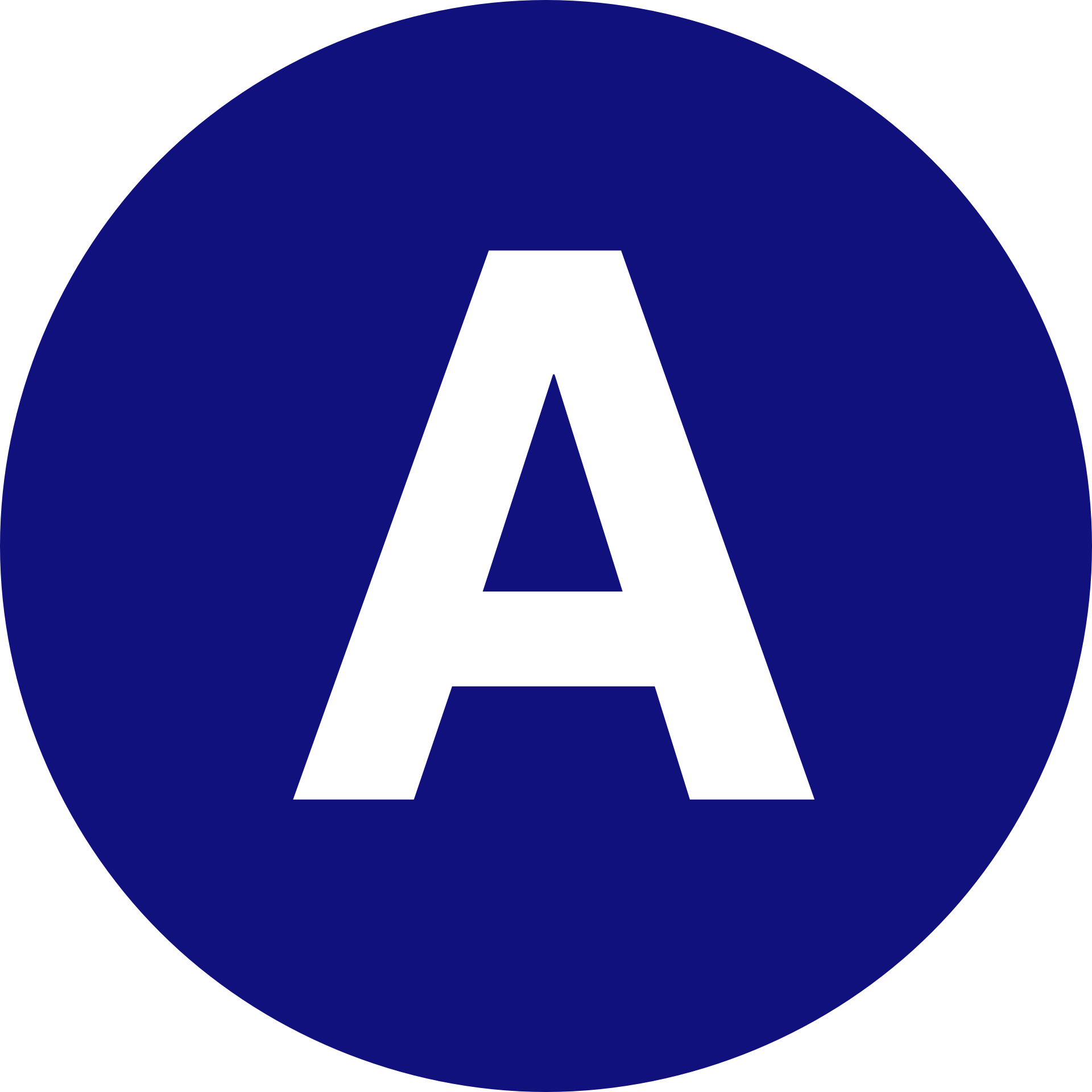 Blue Circle With The Letter A Inside Free Image