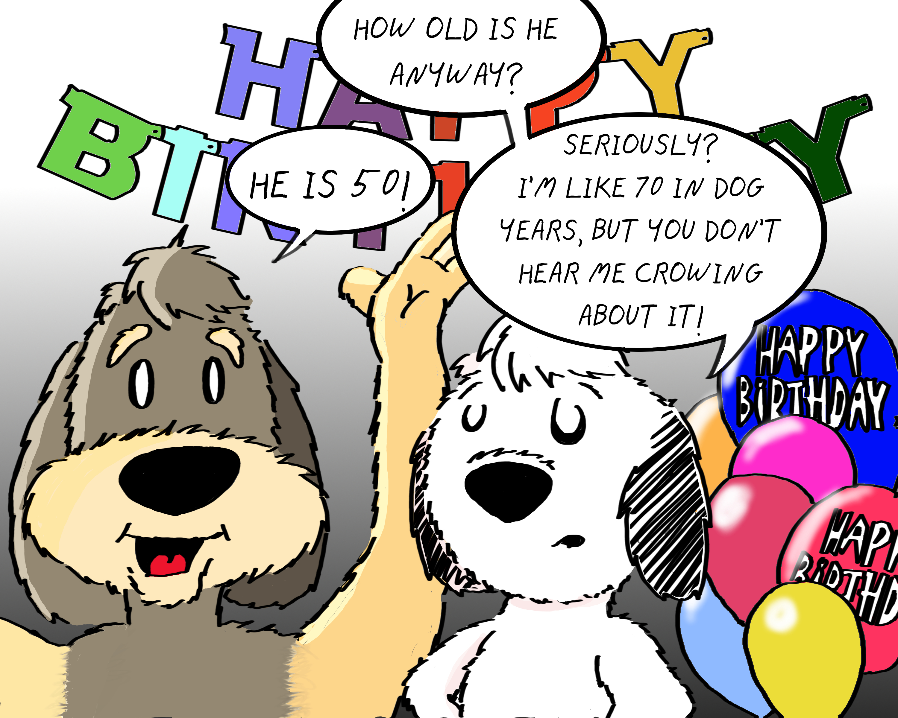 Clip Art Of Happy 50th Birthday And Dogs Free Image Download