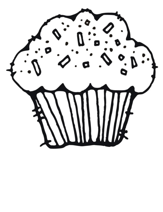 Coloring page of Birthday cupcake free image download
