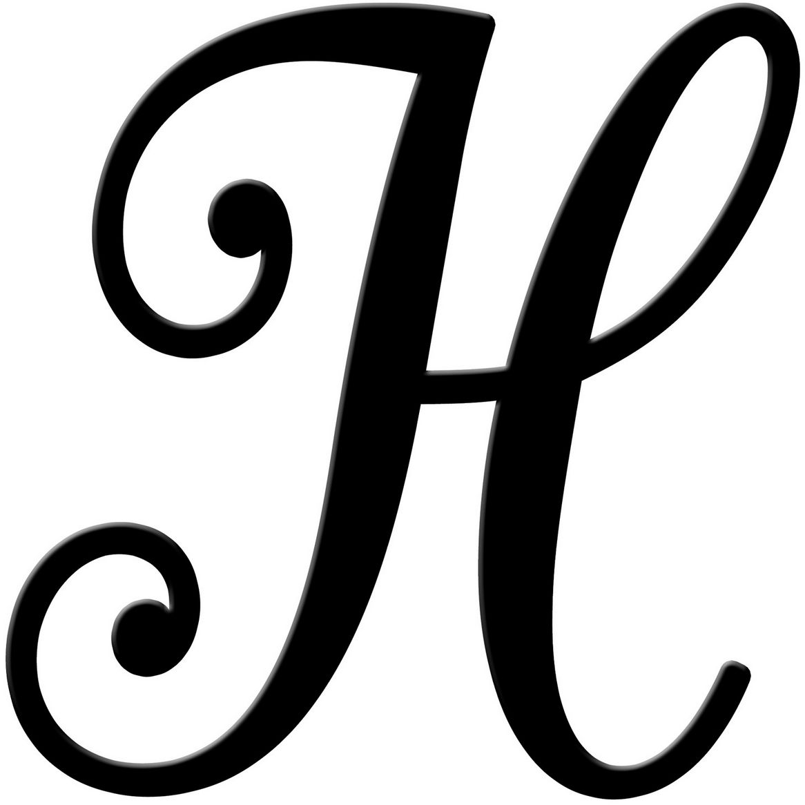Fancy Cursive Black Letter H Free Image
