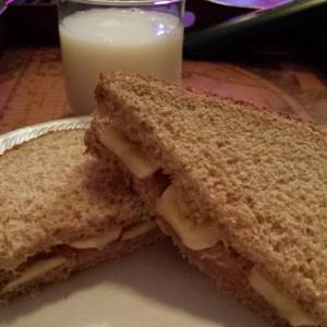 Peanut butter and banana sandwich (and skim milk)