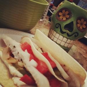 Fish tacos and the sugar skull mug my love bought me that morning :)