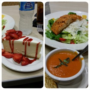 Tomato parmesan bisque, salmon and cheesecake from Peppers at Renaissance Hospital