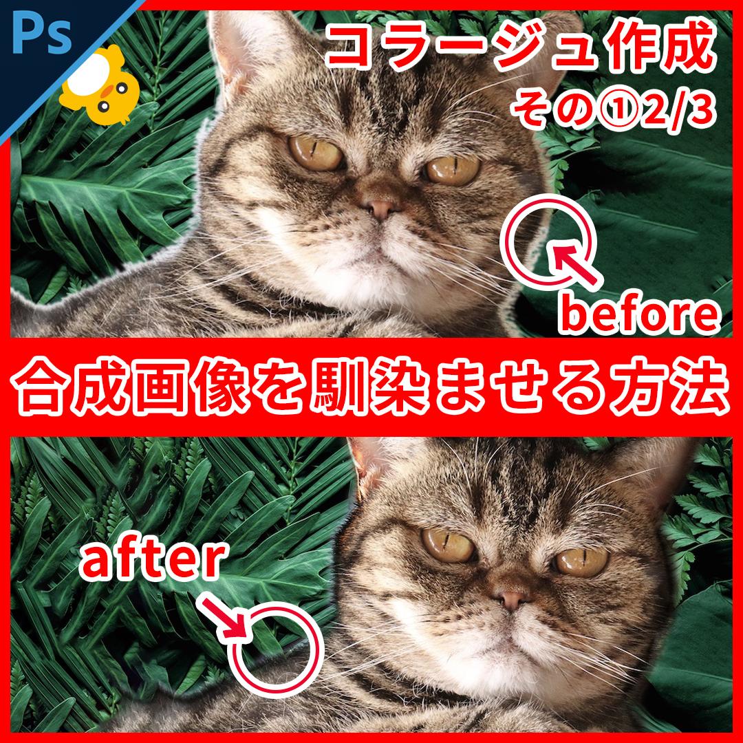 Photoshop合成画像で毛のまわりを馴染ませる方法【コラージュ制作1】2/3
