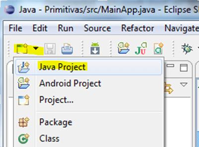Añadir proyecto JAVA desde iconos
