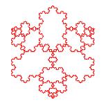 منحنى من بين كوخ مثلث كامل-150