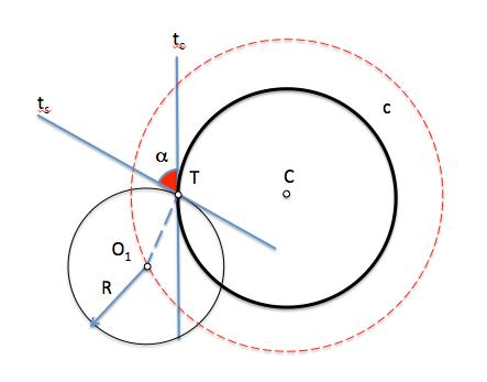 Circunferencia de radio dado que forma un ángulo con otra circunferencia