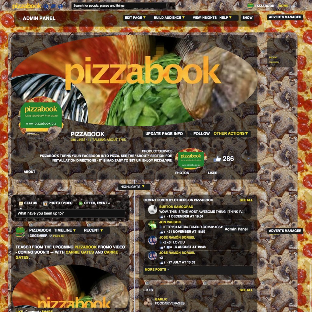Pizzabook facebook page - December 4, 2013