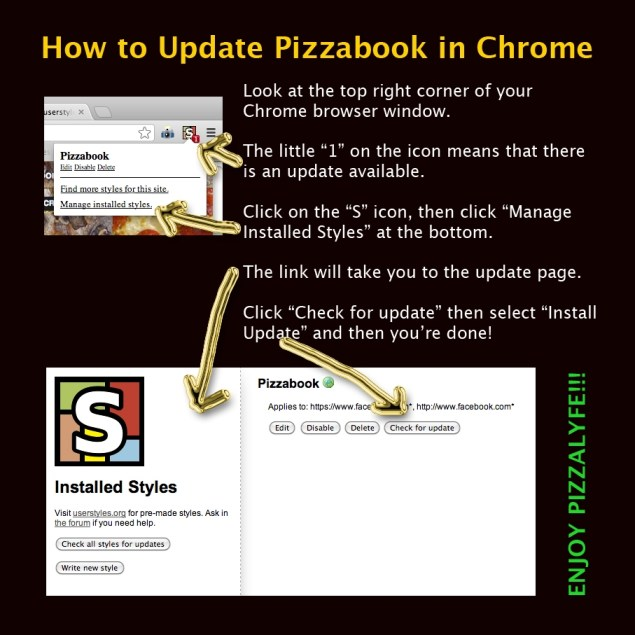 How To Update Pizzabook in Chrome