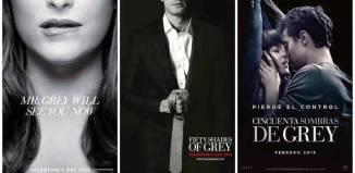 """Varios carteles promocionales de la película """"50 sombras de Grey"""""""