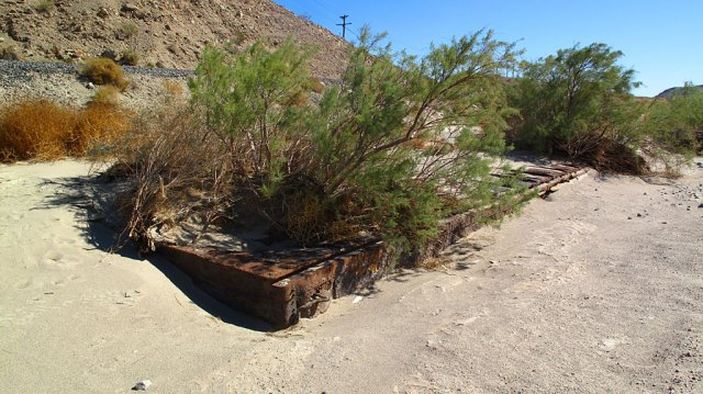 An old, buried boxcar in Afton Canyon, just below the train tracks.