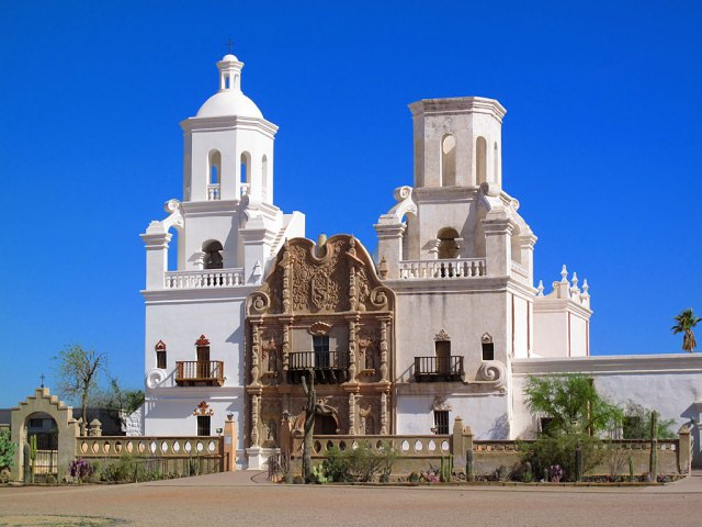 Mission San Xavier del Bac is a historic Spanish Catholic mission located about 10 miles south of downtown Tucson.