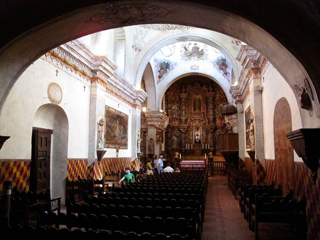 Inside the Mission, looking toward the alter. The Mission is still used for church services.