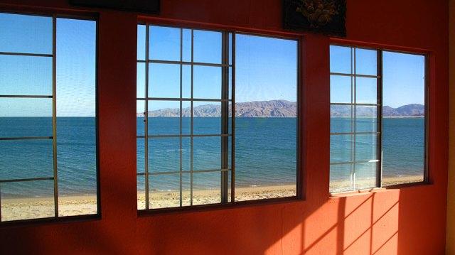 Gonzaga Bay from inside Alfonsina's Restaurant.