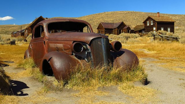 A 1937 Chevrolet coupe is one of the many long-time residents of Bodie.