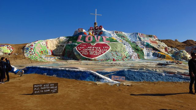 Our first stop was Salvation Mountain, a creation of Leonard Knight (1931–2014) in 1998. The mountain is built of adobe, desert trash (old tires, refrigerators, etc.), straw and thousands of gallons of paint.