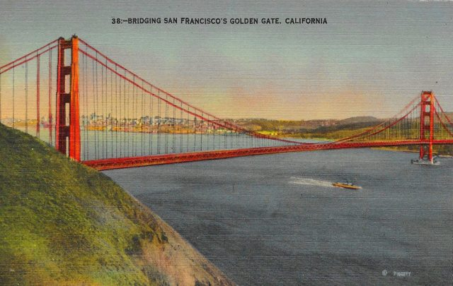 On back: The Golden Gate Bridge brings Northern California and the San Francisco Bay cities into closer and rapid contact. This imposing structure has the largest single span of any bridge in the world, 4200 feet. The total width of the bridge is 90 feet. It has two pedestrian walkways and six lanes for automobile traffic.