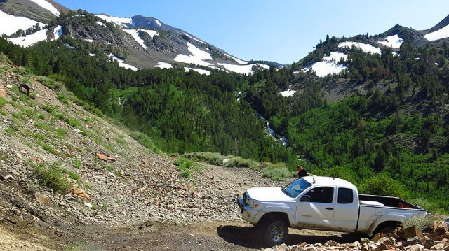 We stopped at one of the road's switchbacks to gawk at the waterfalls and scenery.
