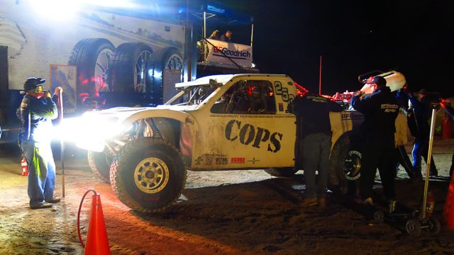 The second of only two actual race photos. The #250 takes 27 gallons of fuel at the BFG Pits -- just enough to get the truck over the mountain and to the driver change in Loreto.
