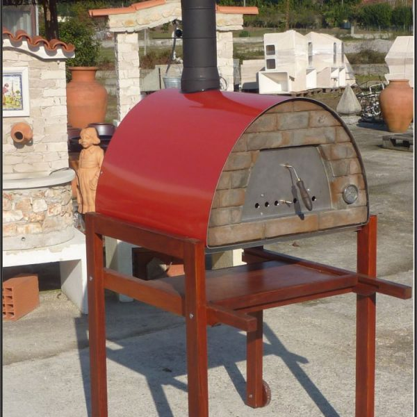 mobiler Holzbackofen Maximus rot mit Gestell