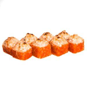 359р ЗАПЕЧЕННЫЙ С КРЕВЕТКАМИ состав сливочный сыр,креветки,соус,Масаго.