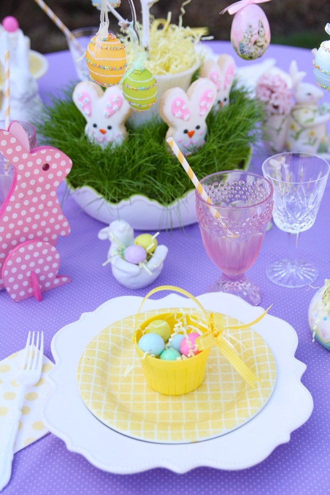 A Bright Purple Easter Tablescape Pizzazzerie
