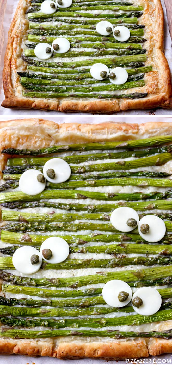 Monster Eye Asparagus Tart, cute for a Halloween dinner! Pizzazzerie.com