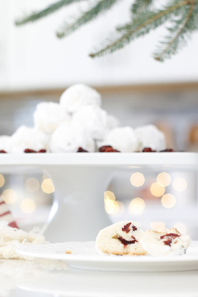 Cranberry Snowball Cookies