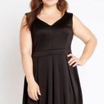 figure flattering, plus sized, little black dress