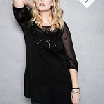 sheer sleeved sequin plus sized top, dressy black modern plus sized blouse, beautiful dressy plus sized womans blouse