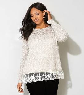 Feminine Lace Trimmed Plus size sweater, Ladies adorable plus sized sweater, elegant plus sized trimmed sweater