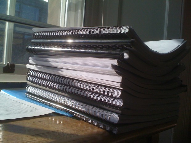 A pile of dissertations that have been marked