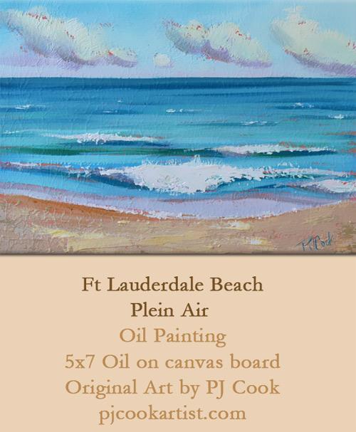 ocean waves, oil on panel, 5x7 ft lauderdale beach