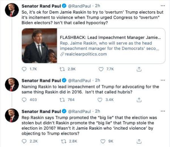 Rand Paul Jamie Raskin impeachment