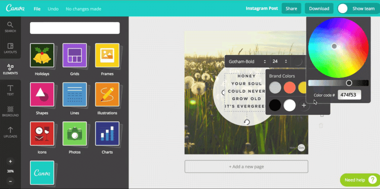 elements for creating marketable content and website designing on canva