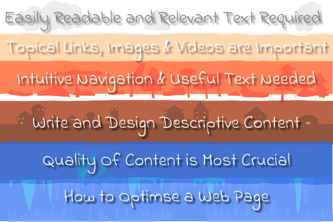 write relevant text and design descriptive content for optimizing a website for users