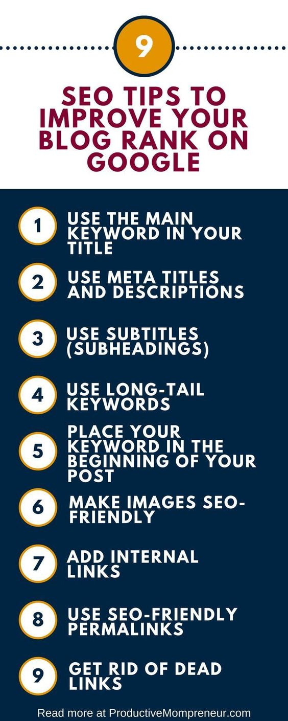 use keywords in the titles and add internal links for ranking on page one of google