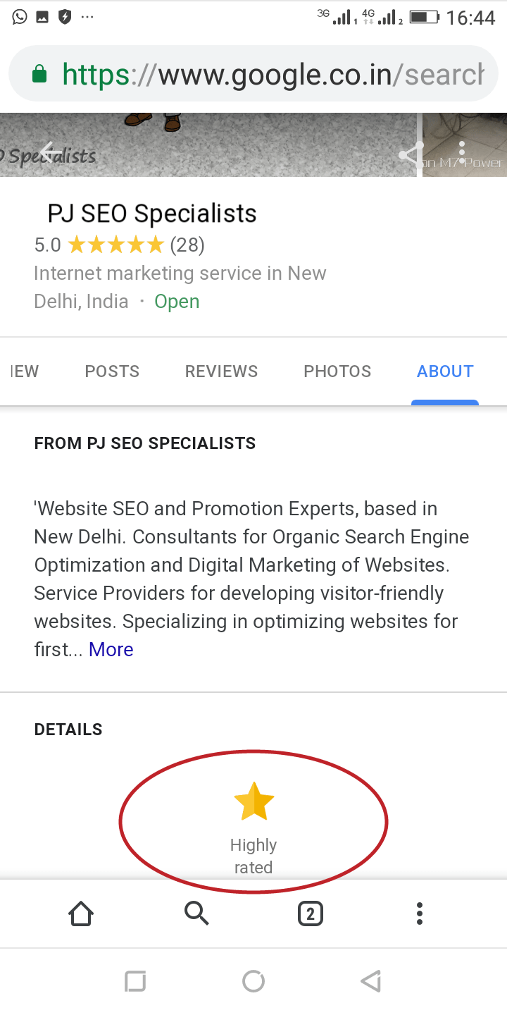 a highly rated status for an online company listing on google local maps