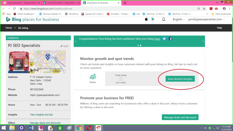 use bing local map listing to compare your website performance on organic internet results