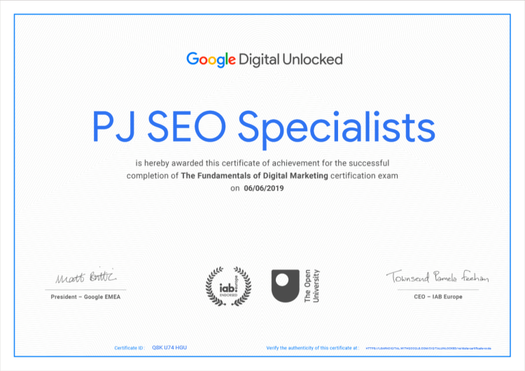 digital unlocked certificate by google