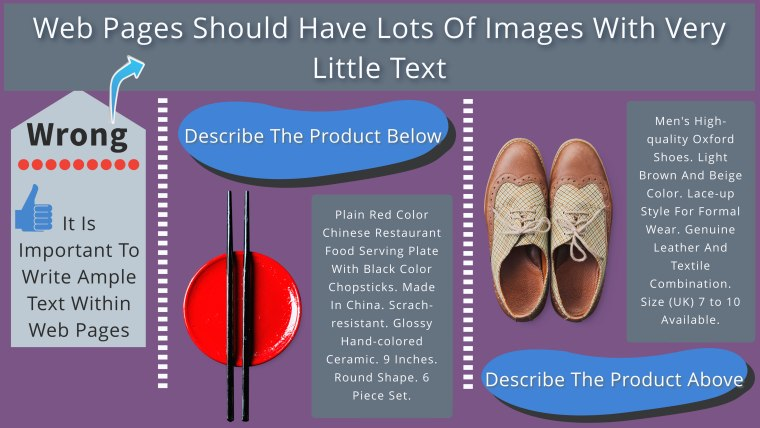 write ample text for images while making e-commerce portals and retail portals