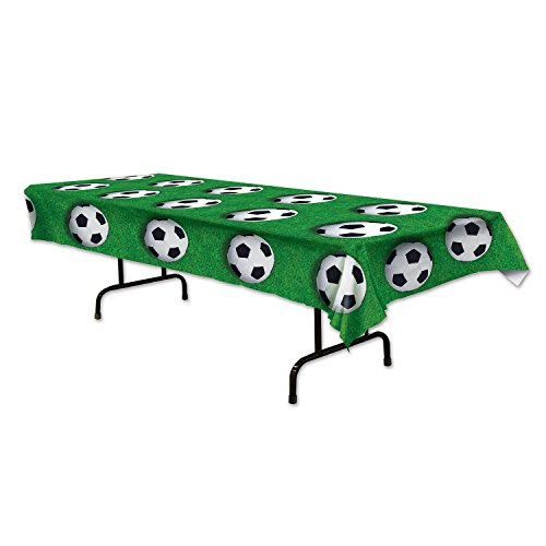 Beistle Soccer Ball Tablecover, 54 by 108-Inch, Green/White/Black
