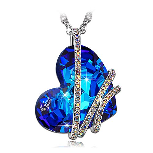 """valentines day gifts, Qianse """"Heart of the Ocean"""" Classic Pendant Necklace Made with SWAROVSKI Crystal, Ideal Christmas Gifts for her (""""I love you"""" Version)"""