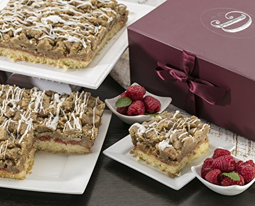 Dulcet Scrumptious Raspberry Crumb Cake- Top Gift Basket for Men and Women. Unique and Tasty and Great Gift Idea for Family or Office Gatherings! (8''x8'')