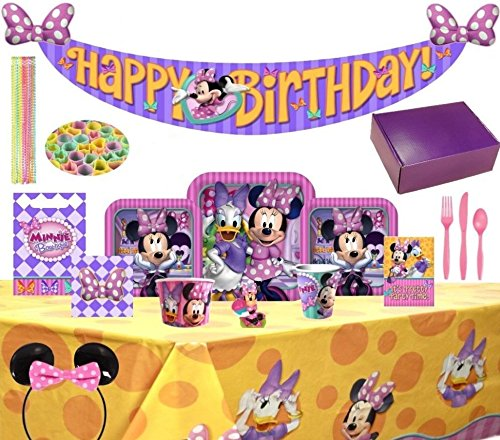 Birthday Bash In A Box Party Supplies (Minnie Mouse 137Pc)