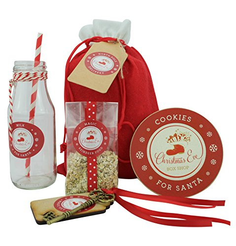 Christmas Eve Gift Bag - filled with, Magic Reindeer Food, Magic Key, Christmas Cookie Coaster and Glass Milk Bottle created by Christmas Eve Box Shop