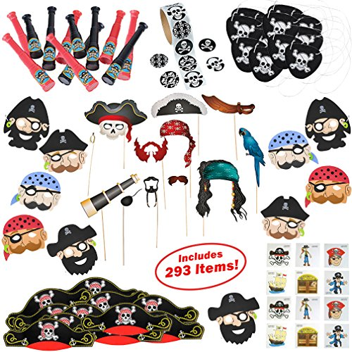 Pirate Party Supplies for Boys and Girls   293 Birthday Party Favors Decorations for 12 Kids   Pirate Hat, Eye Patch, Telescope, Stickers, Tattoos, Eye Mask, Accessories   Includes Photo Booth Props