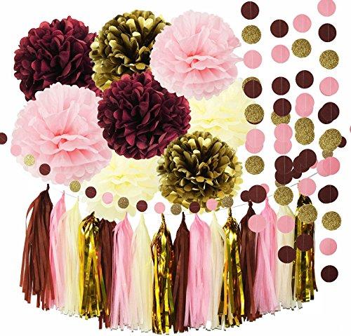 Bridal Shower Decorations Qians Party Burgundy Pink Glitter Gold Birthday Tissue Paper Pom Tassel