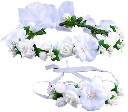 Coolwife Flower Crown Wedding Hair Wreath Floral Headband Garland Wrist Band Set (White)